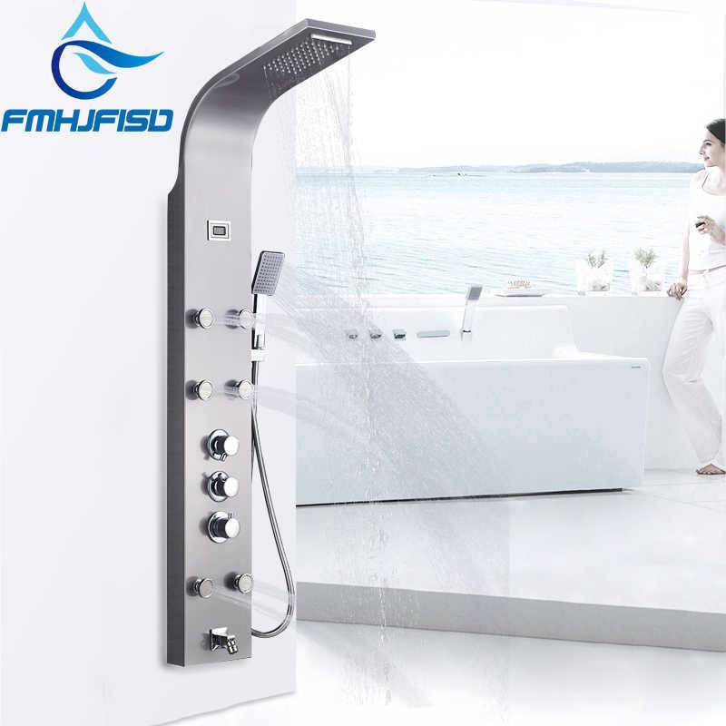 Termostatyczny Panel prysznicowy łazienkowy wodospad z deszczownicą kolumna prysznicowa z wyświetlaczem cyfrowym