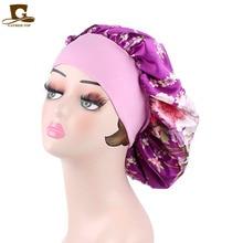 Womens Sleep Night Cap Wide Band floral print Satin Bonnet For Hair Beauty,Hair Care Cap,Chemo Beanie,Curly Springy TJM-30