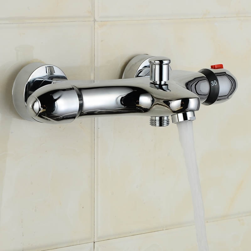 Shower faucet thermostatic mixer valve, Wall mount shower faucets chrome, Dual handle thermostatic shower faucet mixer water tap polished chrome wall mount temperature control shower faucet set brass thermostatic mixer valve with handshower