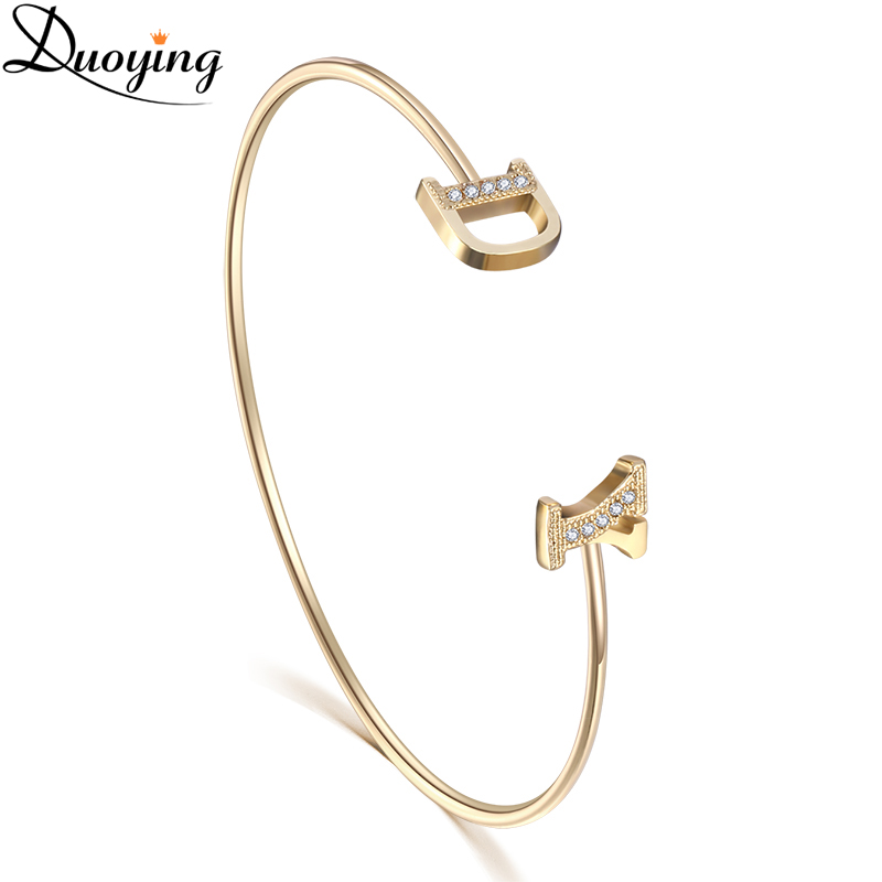 Duoying Zirconia Letter Bangles & Bracelets Custom Pave Setting Initial Name Personalized Bangle for Etsy Unique Cuff Bracelets