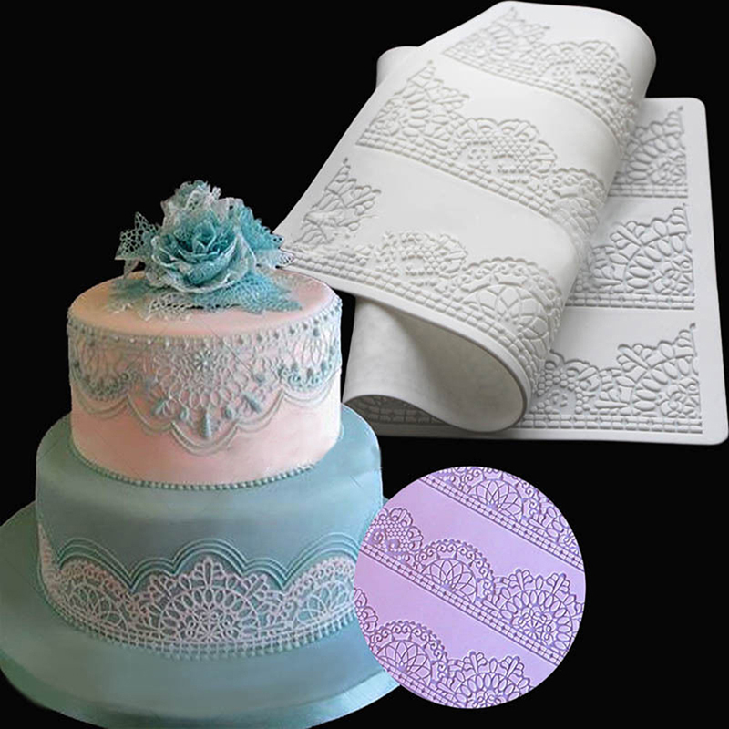 Flower Pattern Silicone Mat Fondant Cake Lace Embossed
