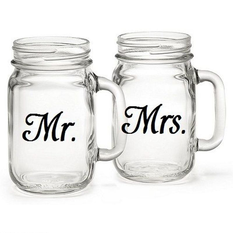 Mr mrs wine glass jar wedding decal stickers wedding gift sticker engagement party present love of 3 pairs in wall stickers from home garden on