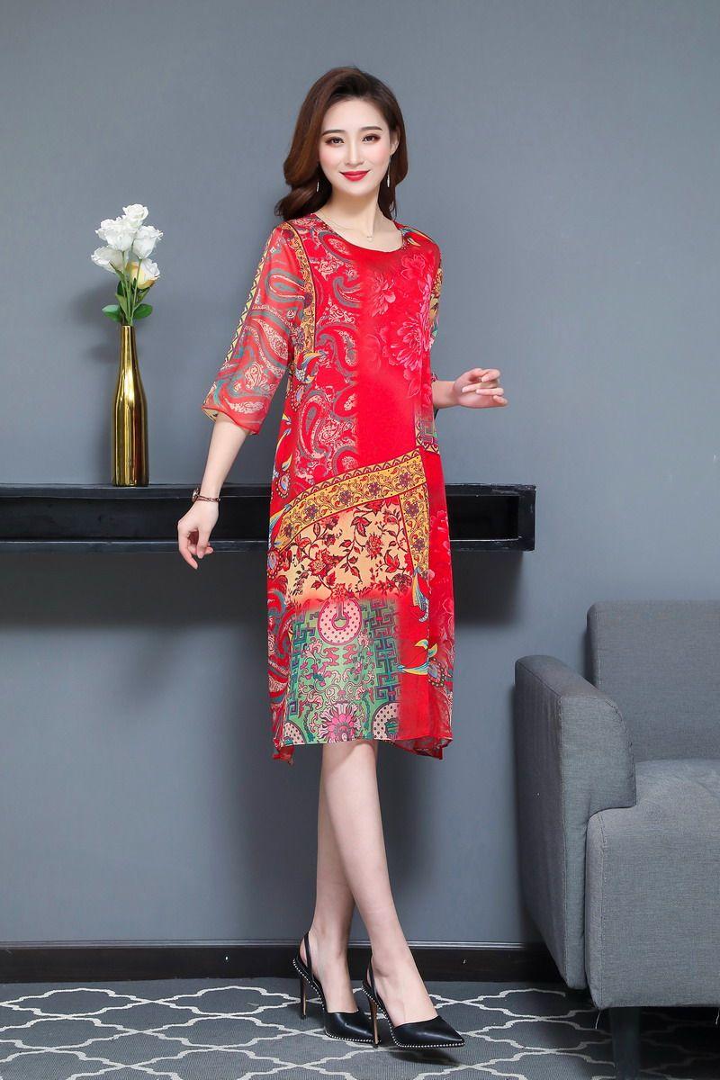 Oriental Style Women Summer Dresses Black Red Ethnic Check Pattern Chiffon One Piece Vestidos Half Sleeve O-neck Silk Dress Woman (13)