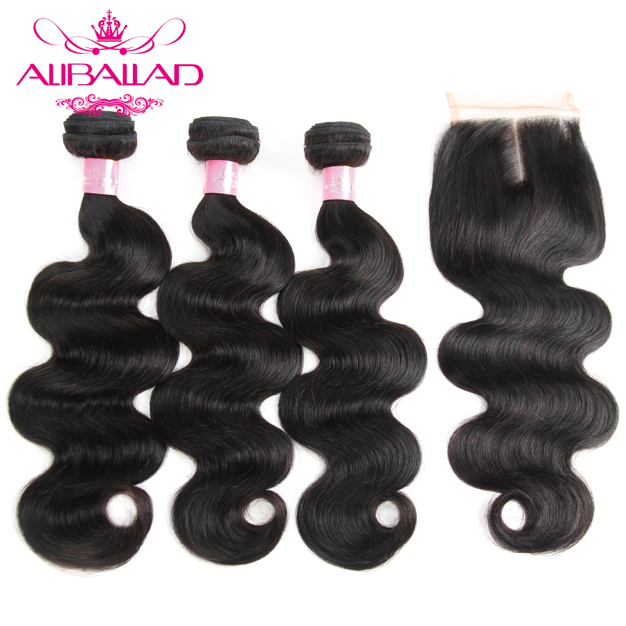 Aliballad Brazilian Human Hair Weave Body Wave Bundles With Closure 4x4 Inches Middle Part Non Remy