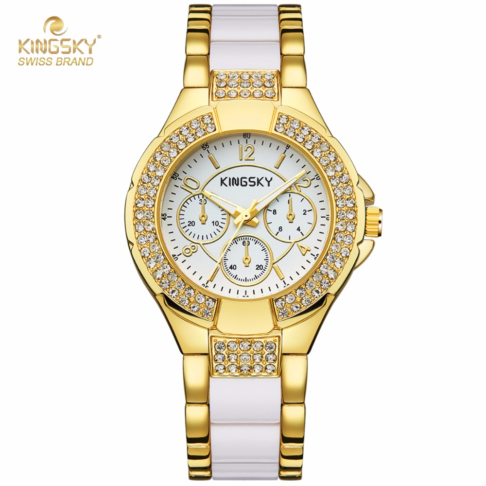 Fashion Watches Women KINGKSY Brand Rhinestone Case Charming Gold White Alloy Strap Quartz Watch Reloj Mujer