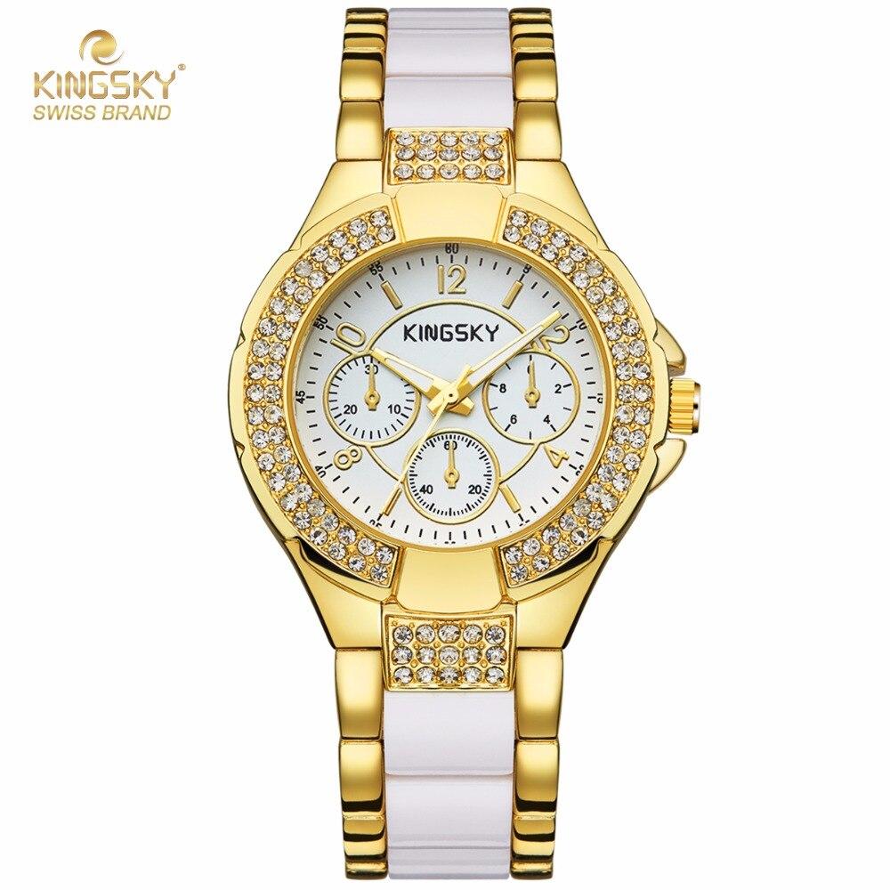 Prix pour Mode Montres Femmes KINGKSY Marque Strass Cas de Charme Or Blanc Bracelet En Alliage Quartz Montre Reloj Mujer 2016 Montre Femme
