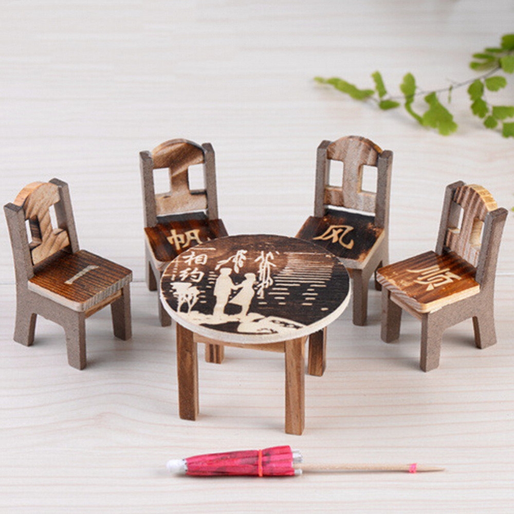 1pcs Table 4pcs Table Chair Miniature Craft Landscape Garden Decor Wooden Dollhouse Miniature