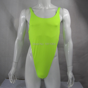 Image 2 - Mens Thong Bodysuit Stretchy High Cut Racer Back Jersey Spandex G428B