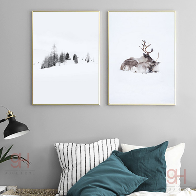 900D Posters And Prints Wall Art Canvas Painting Wall Pictures Nordic Winner Forest and Deer Picture Decoration NOR019 image