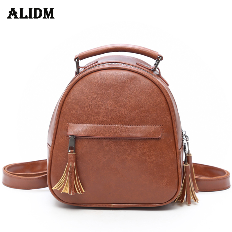 New Fashion Tassel Women Leather Backpack Small Backpacks School Bags For Teenage Girls Solid Tote Women Back Pack Sac A Dos Hot