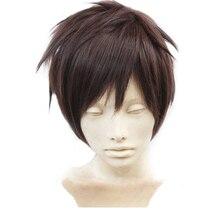 Attack On Titan Eren Jaeger темно-коричневый мужской короткий слоистый высокотемпературный синтетический парик для косплея+ Свободный парик