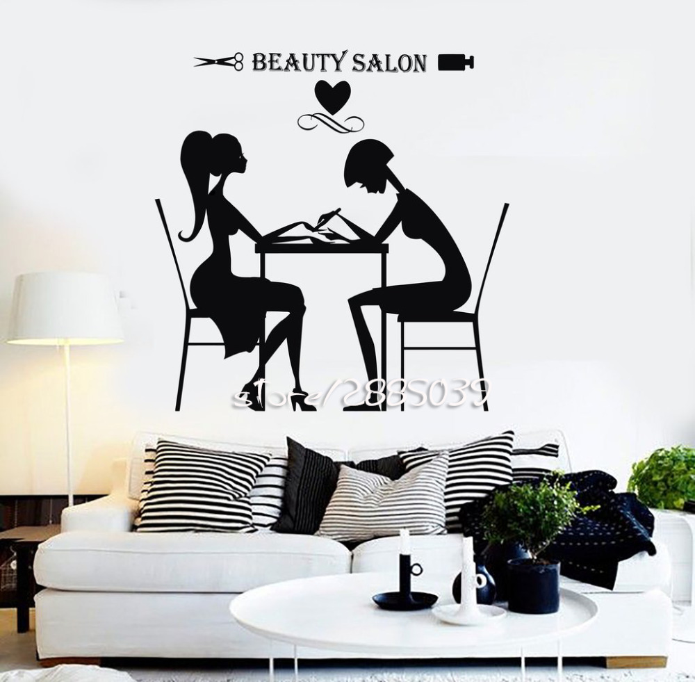 Beauty salon hair stylist wall stickers nail spa wall for Stickers salon design