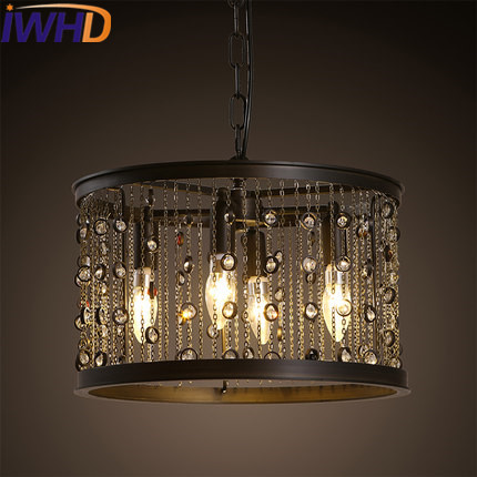 IWHD 8 Heads Iron Cage Vintage Industrial Pendant Light led Loft Style candle Bulb Retro Crystal Pendant Lights Home Lighting egypt imported crystal 8 light pendant lights in ball shape chrome pl1040