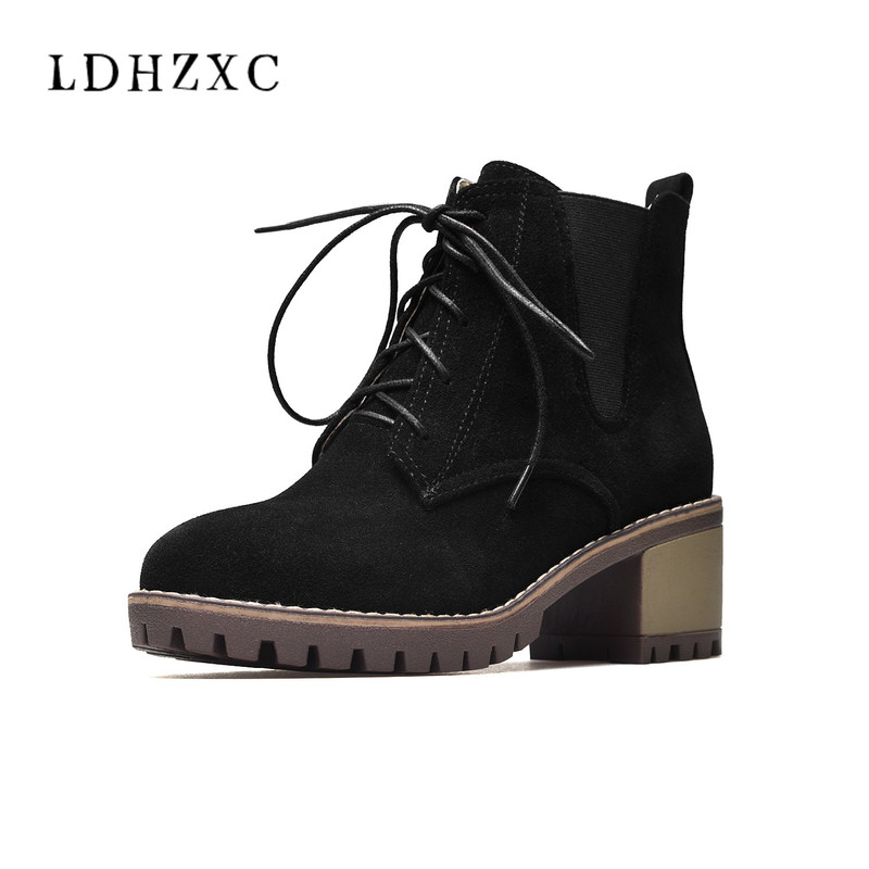 LDHZXC 2018 New lace up genuine leather boots square toe autumn winter ankle boots for women high heel ladies shoes 2017 new fashion lace up women boots genuine leather square heel black autumn winter sexy brand ladies ankle boots women shoes