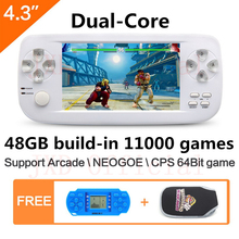 4.3 inch screen 64Bit Handheld Video Game Console build in 1300 no-repeat game for NEOGOE\CPS\GBA\GBC\GB\SFC\FC\MD\GG\SMS MP3/4 64bit game command