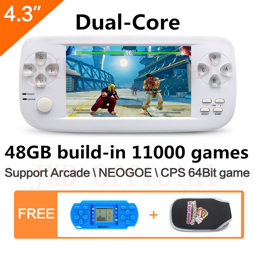 4.3 pouces double coeur 48GB PAP K3 construire en 11000 jeux console de jeu vidéo portable pour NEOGOE \ CPS \ GBC \ GB \ SNES \ FC \ MD \ GG \ SMS MP4 DVDC