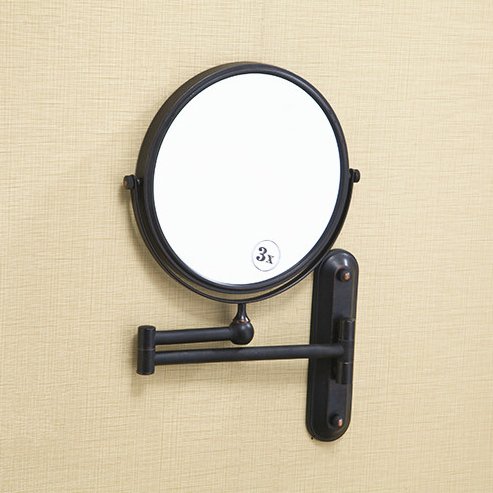 Aliexpress.com : Buy Free Shipping 8u0027 Black Antique Finish Beauty Brass Wall  Mounted Bathroom Mirror Double Side 3X1 Magnifying Makeup Mirror 1548 From  ...