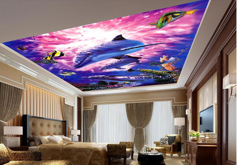 3d room wallpaper custom mural non-woven picture wall sticker 3 d Colorful sea fish  ceiling mural photo wallpaper for walls 3d custom photo 3d wallpaper non woven mural picture wall sticker 3 d bottom of the sea fish painting 3d room murals wallpaper