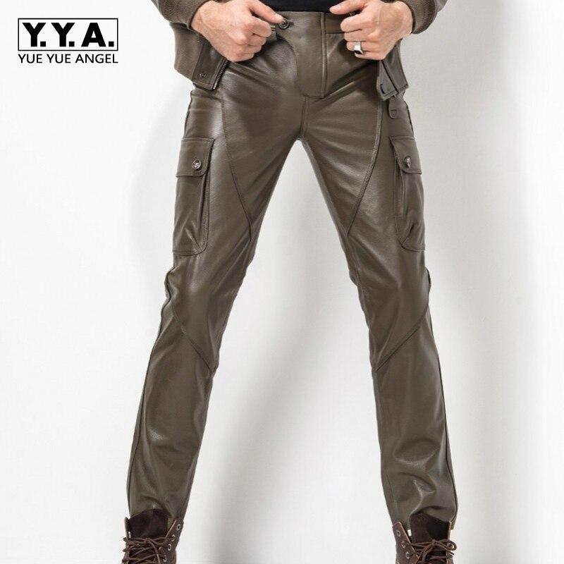 2018 nuevos pantalones de hombre calcas más tamaño 29-35 moda cuero Pantalones motocicleta Pantalones hombres Cuero auténtico recta Pantalones