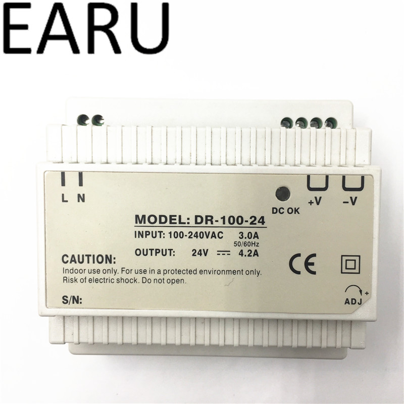 Din rail power supply 100w 24V power suply 100v 30w ac dc converter good quality dr-100-24 free shipping din rail power supply 60w 5v power suply 5v 60w ac dc converter dr 60 5 good quality from china factory