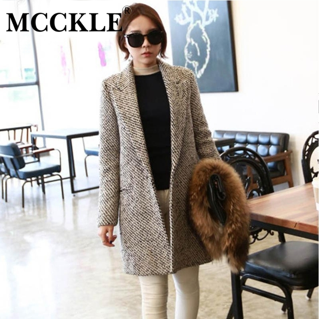 MCCKLE luxury wool coat winter women high quality fashion overcoat long blends over coats casacos femininos vintage striped