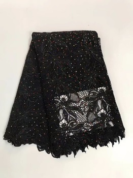 High Quality Stone Embroidery African Guipure Cord Lace Fabric ,Swiss Soluble Water Lace For dress Wedding 5yd/lot YL81001