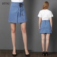 DTYNZ New Women A Line Denim Skirts Fashion High Waist Skirts Plus Size Mini Jeans Skirt