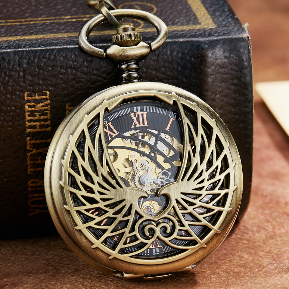 Retro Bronze Love Wing Mechanical Pocket Watch With FOB Chain Unique Double Side Open Skeleton Hand Wind Mechanical Pocket Watch