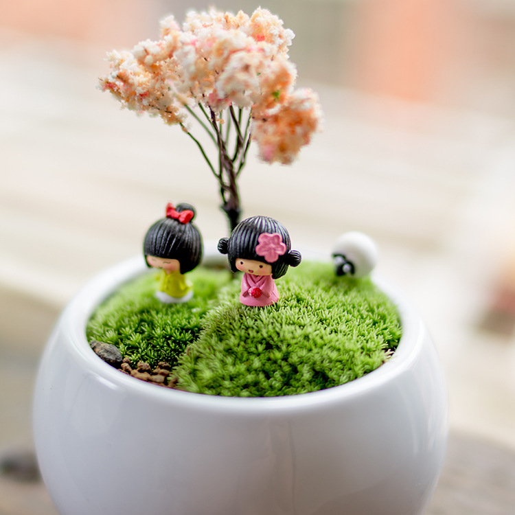 Japanese dolls fairy garden gnome animals moss terrarium for Jardin japonais miniature