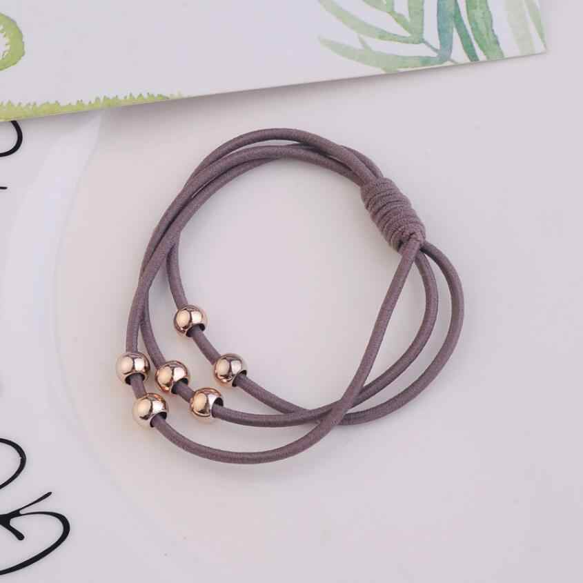 Golden Beads High Elastic Ladies Hair Ring Three-In-One Dot Rubber Band Hair Accessories Jewelry For Women
