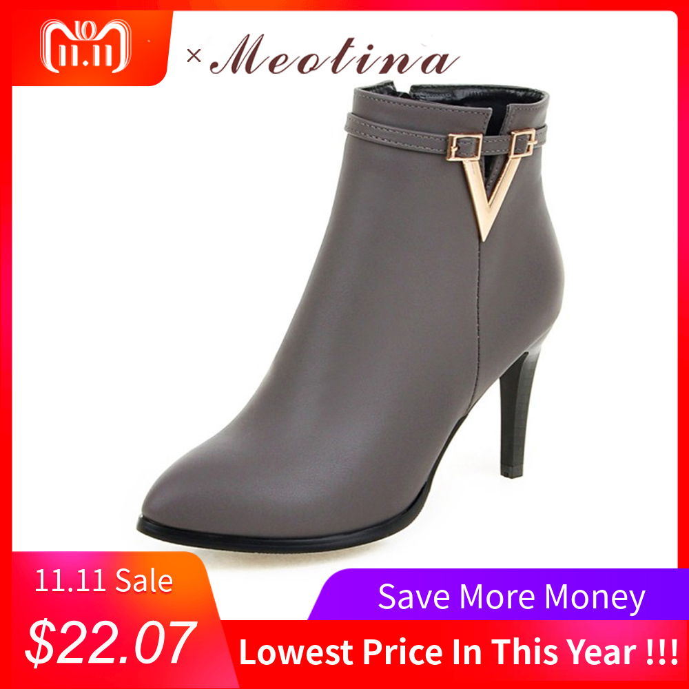 купить Meotina Women Shoes High Heel Ankle Boots Martin Boots Zip Fall Spring Pointed Toe High Heels Lady Shoes Gray Big Size 10 40 43 недорого