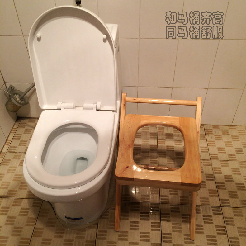 Wood Folding Toilet Chair Portable Elderly Commode Chair Wood Potty ...
