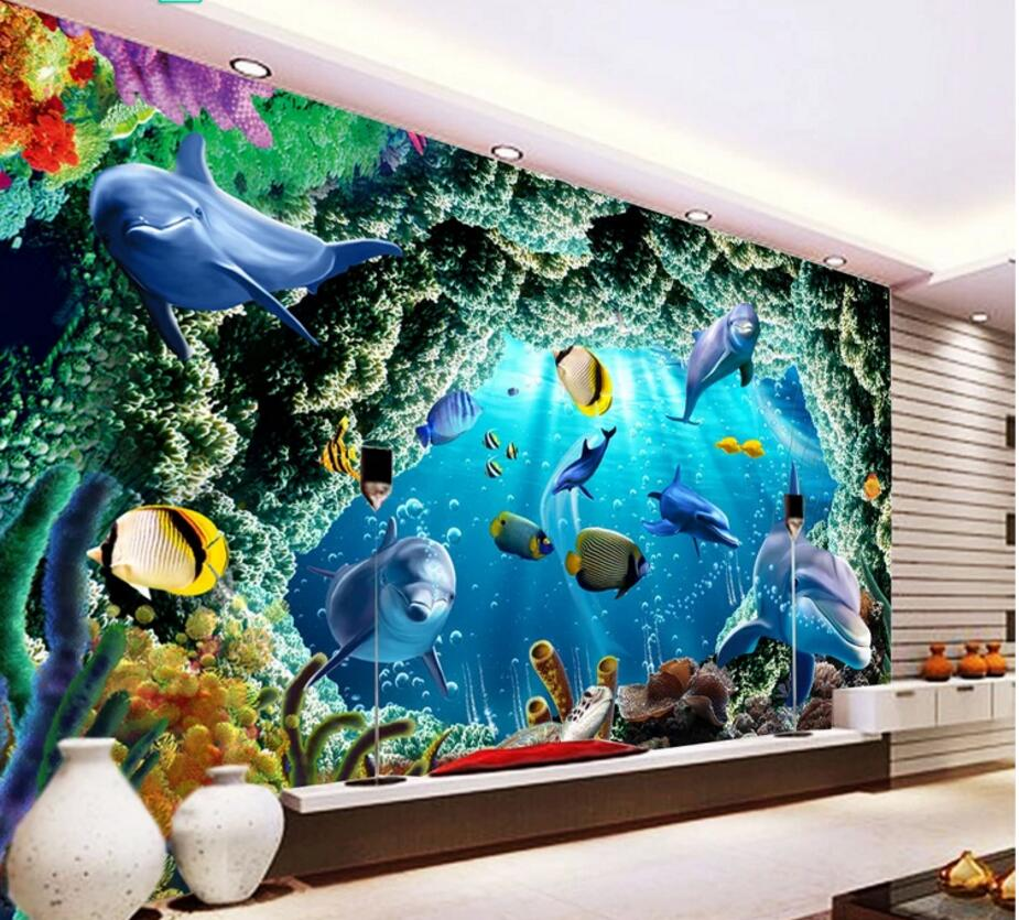 Custom mural 3d wallpaper sea cave dolphin coral fish home decor wallpaper on the wall 3d wall murals wallpaper for living room pure green mountain art wallpaper mural on the wall for kid s room wallpaper nursery room wall decor free shipping