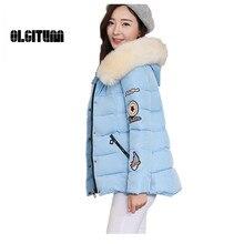 OLGITUM Новая Зимняя версия куртка женская короткий параграф толстый хлопок большой размер для женщин LJ772
