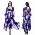 2017 Mulheres Verão Longo Maxi Vestido Pescoço V Manga Longa Plus Size 4XL tamanho Floral Impresso Bohemian Praia Vestido de Férias vestido longo