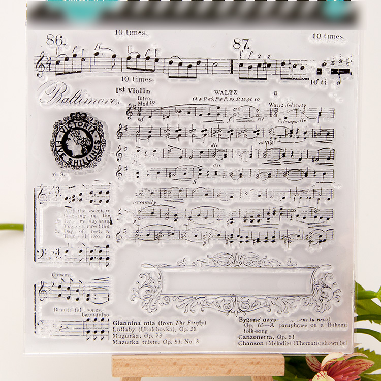 Scrapbook DIY album cards PDA transparent silicone rubber finished chapter seal stamp chapter background music YJ6616 flower scrapbook diy photo cards rubber stamp clear stamp seal hand finished chapter transparent account for wedding gift t 0214