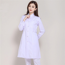2017 New Arrival Long Sleeve Hospital Nurse Uniforms Medical Lab Coats Dental Clinic Pharmacy Workwear Gowns White Pink Blue