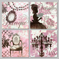 4pcs Set Pink Princess Lady Beautiful Jewelry Girls Decoration Wall Art Pictures Canvas Painting Print For