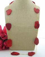 32 39MM Red Gems Stone Chain Necklace 35''