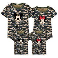 2017 Summer Family Matching Outfits Matching Father Mother Daughter Son Clothes Cotton Print Micky T Shirt