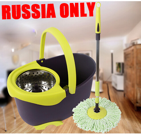Free shipping To Russia househouse hand pressure rotating mop super spin mop magic mop with 4 mopheads dust mop HA197