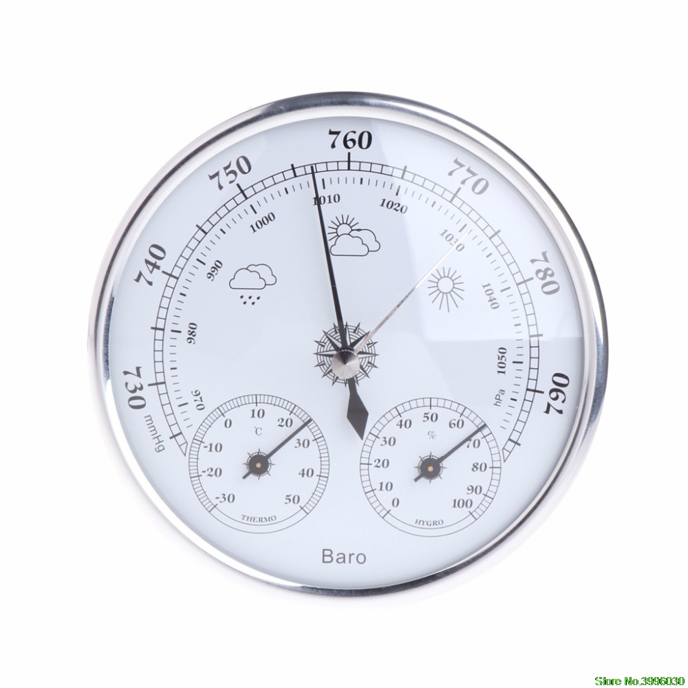 Household Weather Station Barometer Thermometer Hygrometer Wall Hanging european style dark gray 22 5cm 3 in 1 thermometer hygrometer barometer weather station