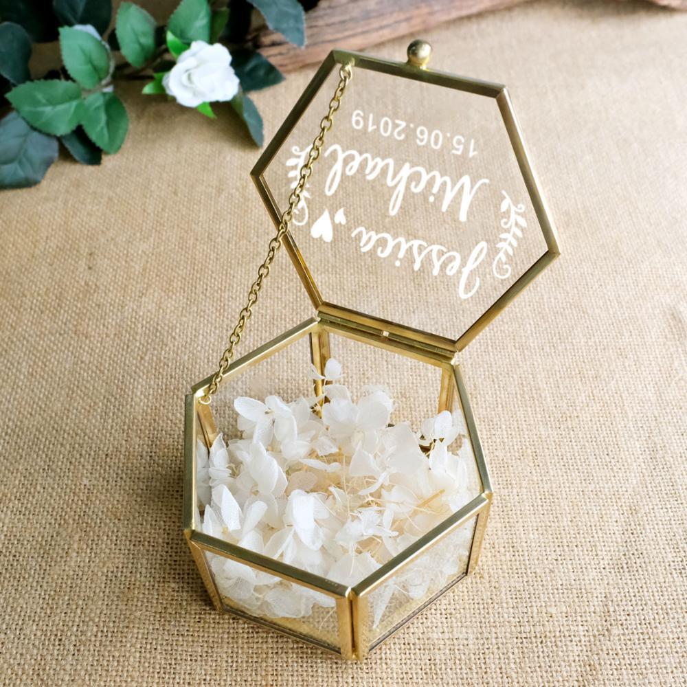Top SaleRing-Holder Wedding-Ring-Box Glass Geometric Peraonalized Antiqued Flower