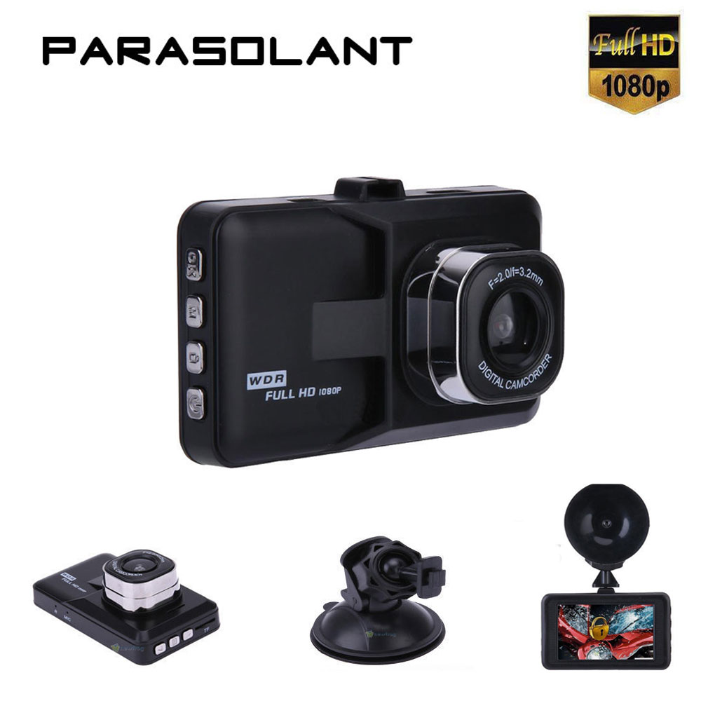 PARASOLANT 120 Wide-angle Car recorder Full HD 1080P Dash Cam Clear Night Vision Car Camera Loop Recorder English/Russian Menual