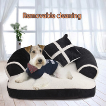 SMARTPET Luxury Pet Dog Sofa Beds With Pillow Detachable Wash Soft Fleece Cat Bed Warm Chihuahua Small Dog Bed S/M/L все цены