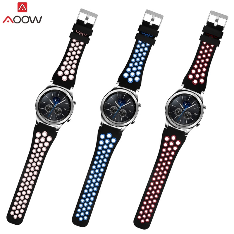 AOOW Silicone Watchband for Samsung Gear S3 R770 Classic Frontier 22mm Hole Type Sport Replacement Bracelet Watchband Strap silicone sport watchband for gear s3 classic frontier 22mm strap for samsung galaxy watch 46mm band replacement strap bracelet
