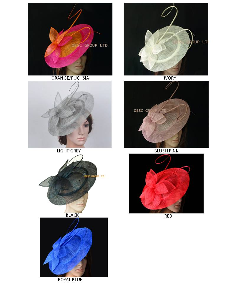 NEW FREE SHIPPING BY EMS BIG saucer Sinamay Fascinator Hat for wedding kentucky derby Melbourne cup