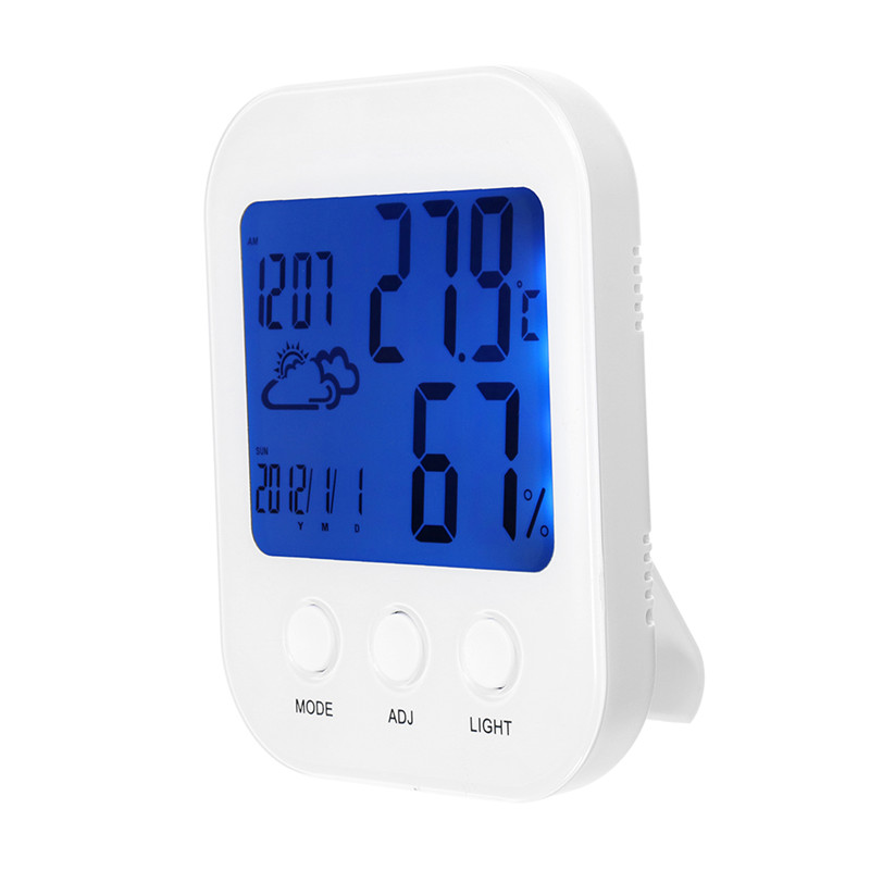 LCD Digital Big Screen Weather Station Humidity Thermometer Temperature Humidity Monitor Indoor Outdoor Alarm Clock