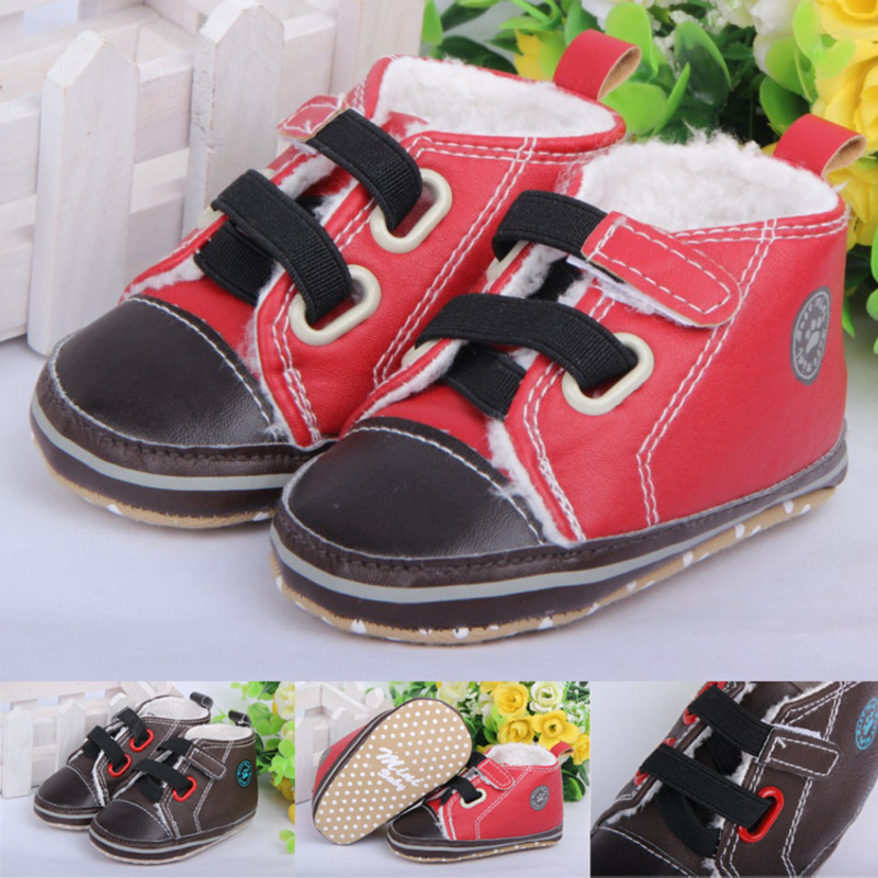 fashion winter kids casual flat heels PU leather fur warm thicken sewing baby boys toddler shoes girls crib shoes bed shoes 0314 ...