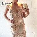 GTIME для Торжеств и Вечеринок Элегантный Блесток Платье Женщины Sexy V-образным Вырезом Bodycon Платье 2016 Краткое Пляж Летнее Платье Сетка Vestidos # WGT31